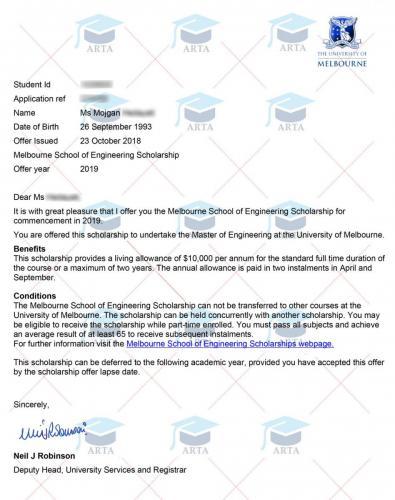 Scholarship of Melbourne University